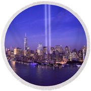 New York City Tribute In Lights World Trade Center Wtc Manhattan Nyc Round Beach Towel