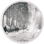 New York City - Winter Night In The Snow At Washington Square  Round Beach Towel by Vivienne Gucwa