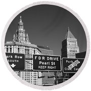 New York City With Traffic Signs Round Beach Towel