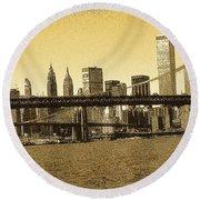 New York Downtown Manhattan Skyline - Yellow Panorama Round Beach Towel