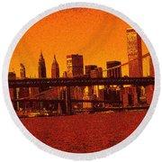 New York Downtown Manhattan Skyline Red Round Beach Towel