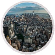 New York From A Birds Eyes - Fisheye Round Beach Towel by Hannes Cmarits