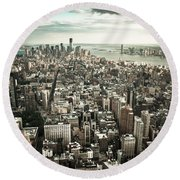 New York From Above - Vintage Round Beach Towel