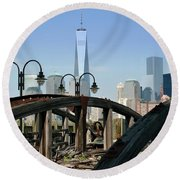 New York From New Jersey - Image 1633-01 Round Beach Towel