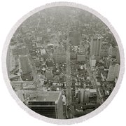New York From The Trade Towers Round Beach Towel