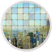 New York Golden Panorama Round Beach Towel