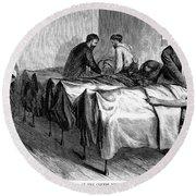 New York: Heatstroke, 1876 Round Beach Towel