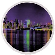 New York In Color Round Beach Towel