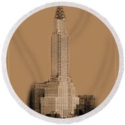 New York Landmarks 1 Round Beach Towel