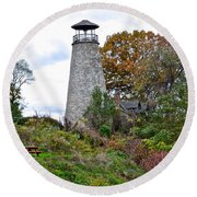 New York Lighthouse Round Beach Towel