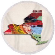New York Map Art - Painted Map Of New York Round Beach Towel