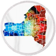 New York - Map By Sharon Cummings Round Beach Towel
