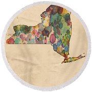 New York Map Vintage Watercolor Round Beach Towel