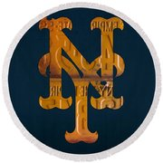 New York Mets Baseball Vintage Logo License Plate Art Round Beach Towel