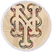 New York Mets Poster Art Round Beach Towel