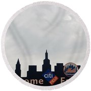 New York Mets Skyline Round Beach Towel