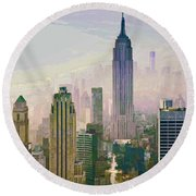 New York Misty Morning Round Beach Towel