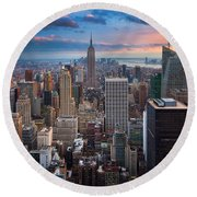 New York New York Round Beach Towel