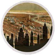 New York Old And New Round Beach Towel