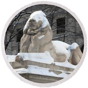 New York Public Library Lion Round Beach Towel