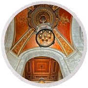 New York Public Library Ornate Ceiling Round Beach Towel