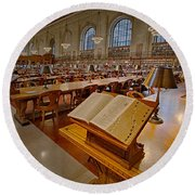 New York Public Library Rose Main Reading Room  Round Beach Towel