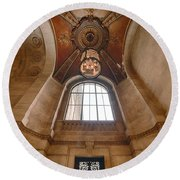 New York Public Library Stairwell Round Beach Towel