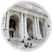 New York Public Library Round Beach Towel