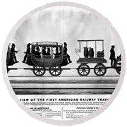 New York Railroad, 1832 Round Beach Towel