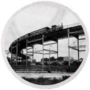 New York Railroad Bridge Round Beach Towel