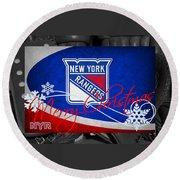 New York Rangers Christmas Round Beach Towel