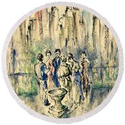 New York Roof Party - Watercolor Ink Round Beach Towel