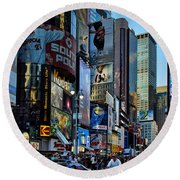 New York Rush Hour Round Beach Towel