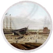 New York Shipyard, 1833 Round Beach Towel