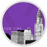 New York Skyline Chrysler Building - Purple Round Beach Towel