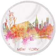 New York Skyline City Round Beach Towel