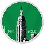 New York Skyline Empire State Building - Forest Green Round Beach Towel