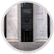 New York State Education Building Entrance Round Beach Towel