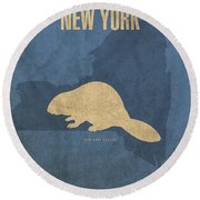 New York State Facts Minimalist Movie Poster Art  Round Beach Towel