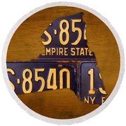 New York State License Plate Map - Empire State Orange Edition Round Beach Towel