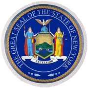 New York State Seal Round Beach Towel