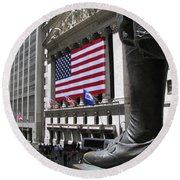 New York Stock Exchange Round Beach Towel