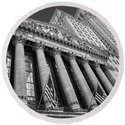 New York Stock Exchange Wall Street Nyse Bw Round Beach Towel