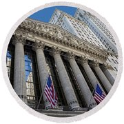 New York Stock Exchange Wall Street Nyse  Round Beach Towel