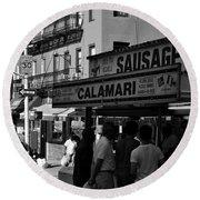 New York City Street Fair - Calamari Sausage - Black And White  Round Beach Towel