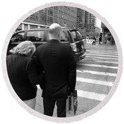 New York Street Photography 13 Round Beach Towel