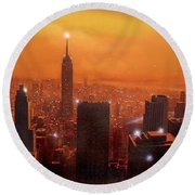 New York Sunset Round Beach Towel