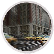 New York Taxi Abstract Round Beach Towel