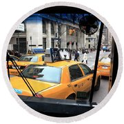 New York Taxi Cabs Round Beach Towel