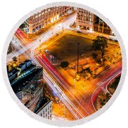 New York Traffic Round Beach Towel